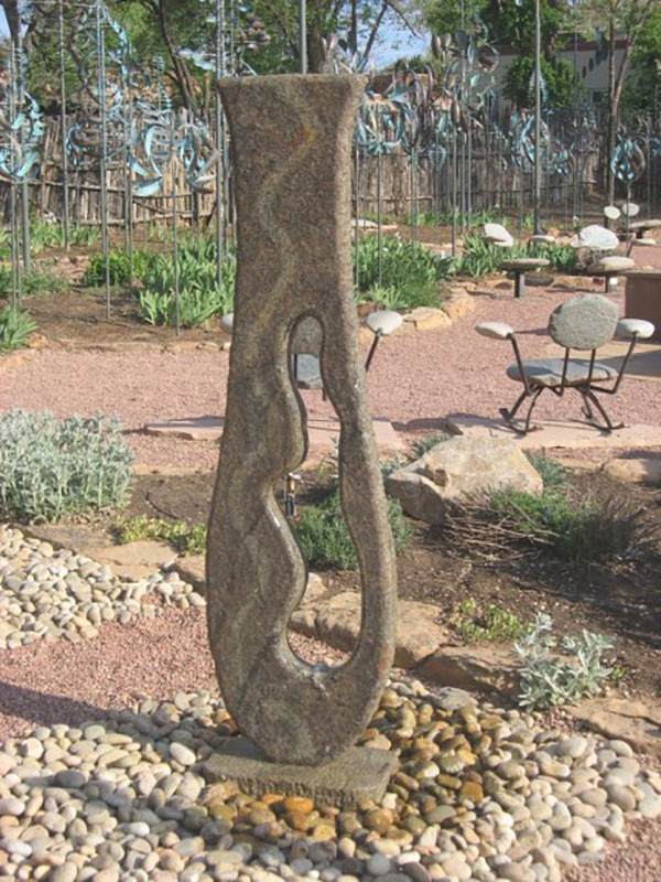 """Raincatcher Flamed Brown Granite fountain. 69"" x 19"" x 11"""""