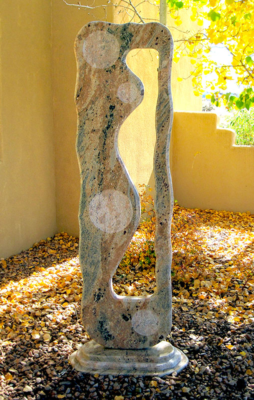 Reciprocity, commissioned Granite garden sculpture, 74""