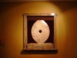 """""""Kat's Eye Gold Juparana Granite two sided fountain. 26"""" x 28"""" x 5"""" Commission for massage studio"""""""