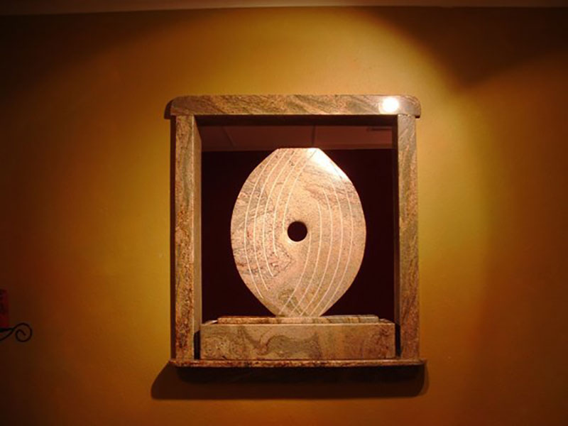 """Kat's Eye Gold Juparana Granite two sided fountain. 26"" x 28"" x 5"" Commission for massage studio"""