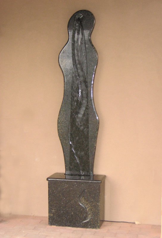 """Curves 2007 Commissioned Granite Waterwall. 84"" tall"""