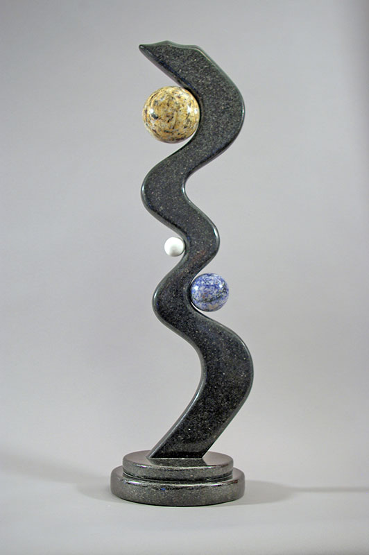 """""""""""Eclipse"""", 2008, Black Galaxy, Blue Bahia, Golden Butterfly Granite, White Marble, 28"""" in height"""""""