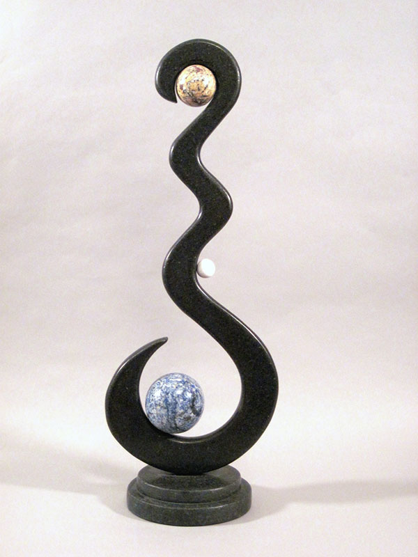 """""""Traverse, 2008, Black Galaxy, Blue Bahia, Golden Butterfly Granite, White Marble, 28"""" in height"""""""
