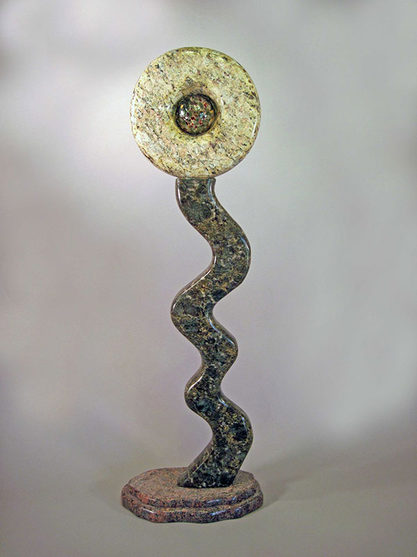 """Flourish, 2009, Granite, Blown Glass 40"" in height"""