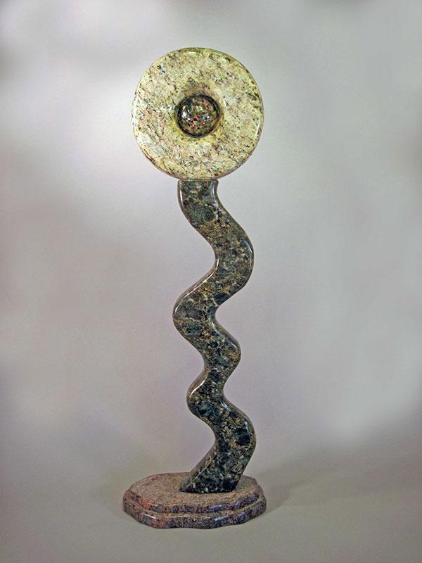 """""""Flourish, 2009, Granite, Blown Glass 40"""" in height"""""""
