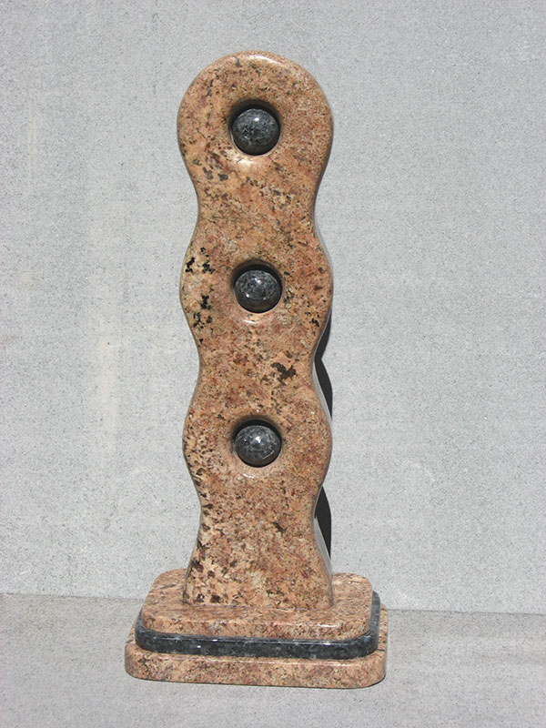 """Links #3 Introspect 2006 Bordeaux, Blue Pearl Granite. 28"" x 12"" x 8.5"""""