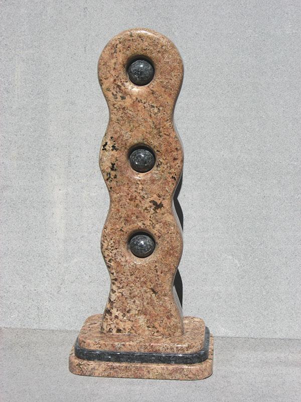 """Links #3 Introspect 2006 Bordeaux, Blue Pearl Granite. 28"" x 12"" x 8.5"""""