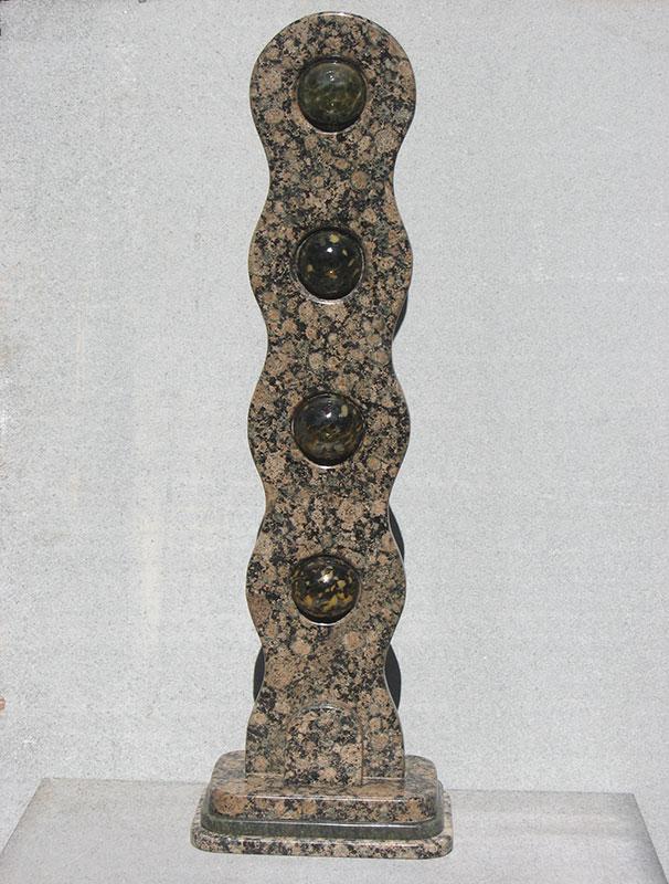 """Links #4 Evergreen 2006, Baltic Granite, Blown Glass. 41"" x 13"" x 9"""""