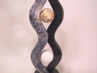 """Circling Skies 2009, Granite, Granite & Marble spheres 21"" x 16"" x 7"""""