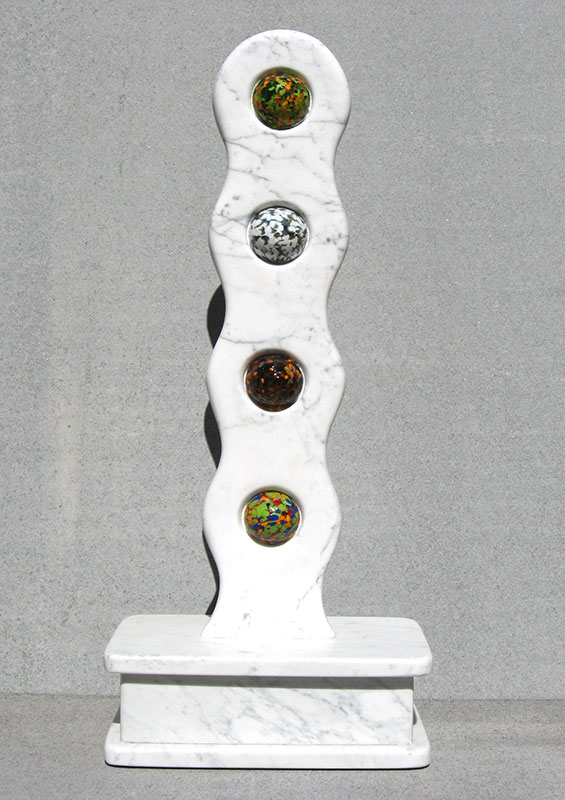 """Links #1 Rebirth 2006 Marble Urn, Blown Glass. 30"" x 13.5"" x 7.5"""""