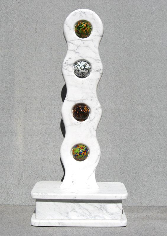 """""""Links #1 Rebirth 2006 Marble Urn, Blown Glass. 30"""" x 13.5"""" x 7.5"""""""""""