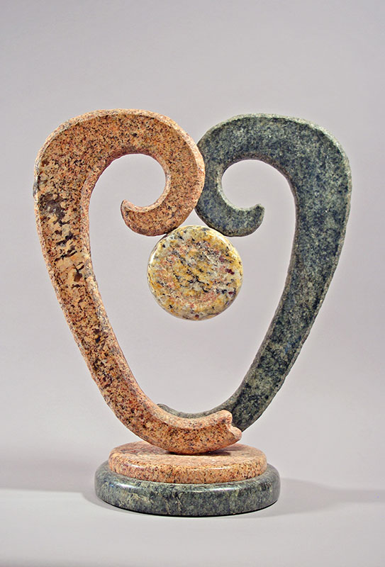 """Heart Bloom 2009 Granite, Marble. 22"""""