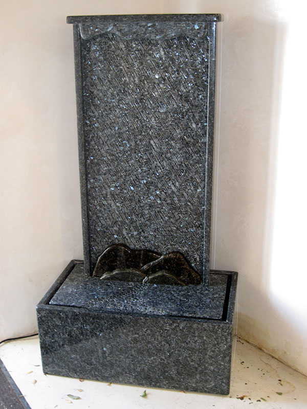 """Rain Blue Pearl, Green Granite Waterwall. 61.5"" x 33.5"" x 19.5"" Available from Artist"""
