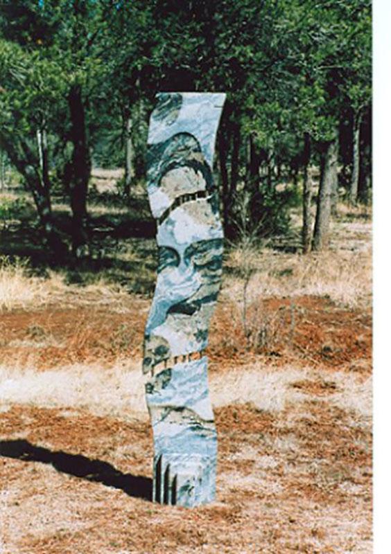 """Lemon-Aid 2004 Romantica Granite, Rebar, garden sculpture 69"" x 12"" x 10"""""