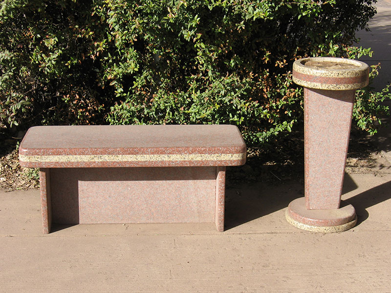 """Smoking Bench/Ashtray, commission for El Meson, Santa Fe 2008, two granites. 48"""""