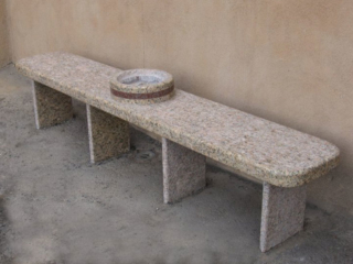"""""""Smoking Bench w/ Ashtray, commission for IAFF Local 244 Albuquerque, NM 2009, red, gold granite. 7' 6"""" long"""""""