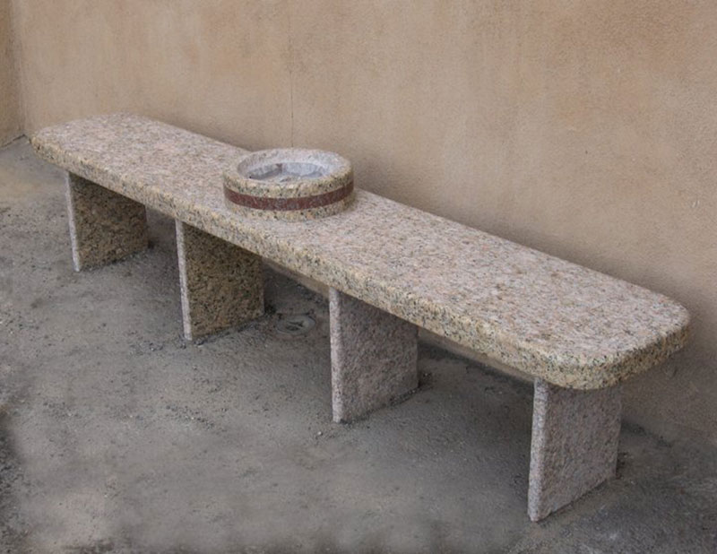 """Smoking Bench w/ Ashtray, commission for IAFF Local 244 Albuquerque, NM 2009, red, gold granite. 7' 6"" long"""