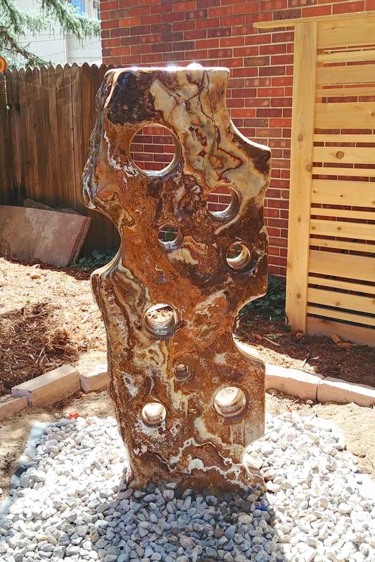 Sculpture, fountain stone onyx denver