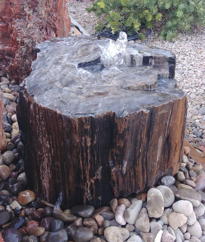 petrified wood, fountain, water feature, rock, stone, natural, New Mexico, Arizona, Colorado, Texas, waterfall