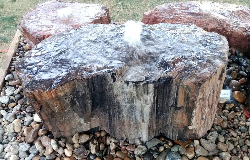 petrified wood fountain, water feature, natural stone, rock, Tucson Gem and Mineral show, Pueblo Gem and Mineral show