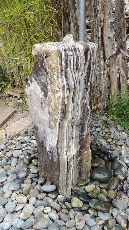 Black canyon Onyx, Polished edge, mark white fine art, santa fe, fountain, rock, stone, water feature