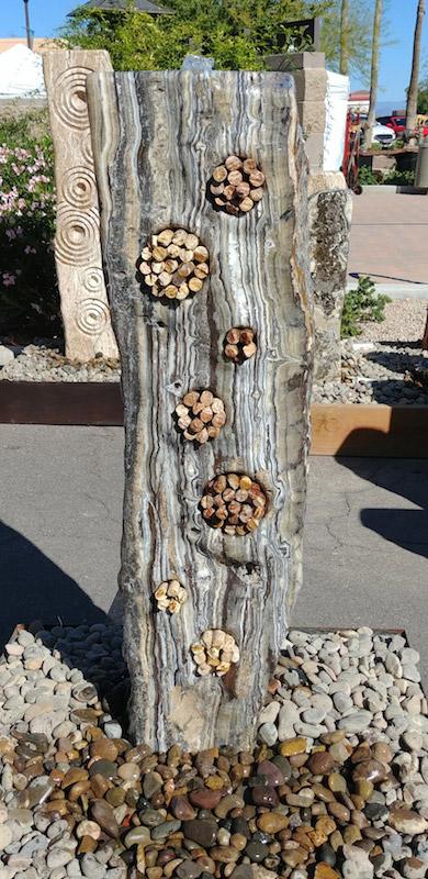 sculpture, art, fountain, water feature, original, stone, rock, Arizona, Texas, Colorado, New Mexico, santa fe, onyx, black onyx, bubbler