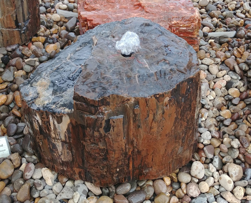 black petrified wood fountain water feature